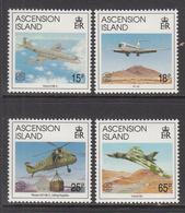 1992 Ascension War In The Falklands Aviation Military Helicopter  Complete Set Of 4 MNH - Ascension (Ile De L')
