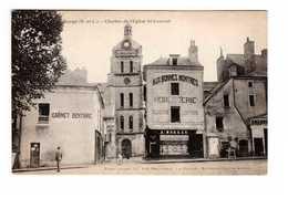 49 Baugé Clocher De L' Eglise St Saint Laurent Cpa Carte Animée , Cabinet Dentaire Dentiste Bijouterie Horlogerie - Other Municipalities