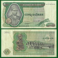 Zaire P21b, 5 Zaires, Mobutu, Leopard / Hydroelectric Dam, Congo River XF+ LARGE - Zaïre