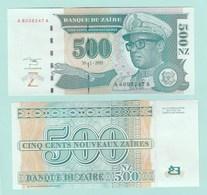 Zaire P65, 500 Nouveaux Zaires, President Mobutu S'es'e Seko Nkuku, Leopard UNC - Zaire