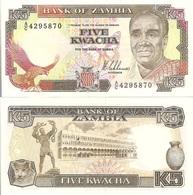Zambia P30a, 5 Kwacha, Eagle, Butterfly, Fish Eagle / Lion Cub UNC $7 Cat Val - Zambia