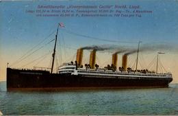 "1916 BARCOS , TARJETA POSTAL CIRCULADA , NORDD LLOYD - VAPOR RÁPIDO "" KRONPRINZESSIN CECILIE "" - Schiffe"