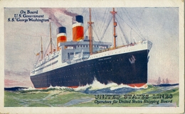"1923 BARCOS , TARJETA POSTAL NO CIRCULADA , UNITED STATES LINES - S.S. "" GEORGE WASHINGTON "" - Schiffe"