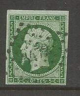 1854 - N°12b - Vert Foncé - Losange Petits Chiffres - 3472 VALENCIENNES - TRES BEAU Cotation Yvert 2016 : 225,00 € - 1853-1860 Napoléon III