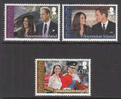 2011 Ascension William & Kate Complete Set Of 3 MNH - Ascension (Ile De L')