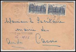 2276 Lettre (cover) Recommandé Provisoire N°760 Palais Du Luxembourg Auriac Sur Vendinelle 14/11/1947 Pour Casses Aude - Marcophilie (Lettres)