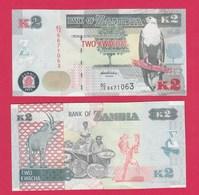 Zambia P49, 2 Kwacha, Fish Eagle / Roan Antelope, Hand Craftswomen, UNC - Zambia