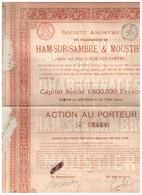 Titre Ancien - Sté Anonyme Des Charbonnages De Ham-Sur-Sambre & Moustier - Titre De 1899- N° 7451 - Mines
