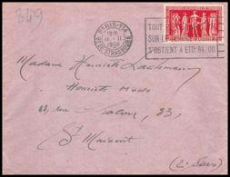 2793 France N°849 Chambres De Commerce Paris Pour Saint-Maixant Gironde 11/11/1950 Seul Sur Lettre (cover) - Marcophilie (Lettres)