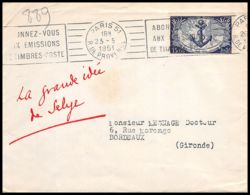 2914 France N°889 Cinquantenaire Des Troupes Coloniales. Paris 1951 Seul Sur Lettre (cover) Bordeaux - Postmark Collection (Covers)