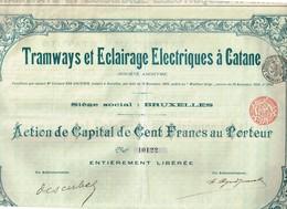 Action Ancienne - Société Anonyme -Tramways Et Eclairages Electriques à Catane - Titre De 1904 -N°10122 - Chemin De Fer & Tramway