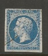 1860 – N° 14B (Type II) – Bleu – Pointillés Fins (RR) - Beau Timbre - 1853-1860 Napoleon III