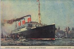 BARCOS , TARJETA POSTAL NO CIRCULADA , UNITED STATES LINES - S.S. LEVIATHAN - Schiffe