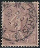 France 1903 Yv. N°131 - 20c Brun-lilas - Oblitéré - 1903-60 Sower - Ligned