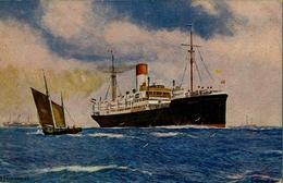 "1923 BARCOS , TARJETA POSTAL CIRCULADA , HAMBURG - SÜDAMERIKANISCHE "" VILLAGARCIA "" - Schiffe"