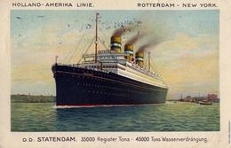 1915 BARCOS , TARJETA POSTAL CIRCULADA , HOLLAND - AMERIKA LINIE , D.D. STATENDAM - Schiffe