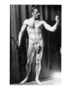 PHOTO  HOMME NU AVEC FEUILLE DE VIGNE  CULTURISME CULTURISTE   14 X 9.50 CM - Sports