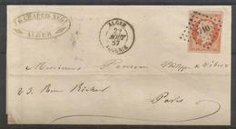 1853 –  N° 16 - Orange - Seul Sur Lettre - ALGER - Timbre Superbe - 1853-1860 Napoléon III