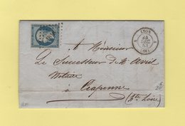 N°10 (TB) Sur Lettre De Lyon Pour Craponne - 24 Decembre 1853 - Storia Postale