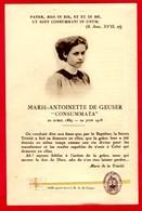 "-- IMAGE RELIGIEUSE AVEC RELIQUE De  MARIE-ANTOINETTE DE GEUSER ""CONSUMMATA"" /  -- - Images Religieuses"