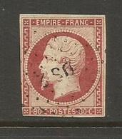 """1859 – N° 17B - 80 C. - Rose - Oblitération Losange 'bâton"""" De PARIS DS 2 - Belles Marges Sauf Un Peu Courtes Gauche - 1853-1860 Napoléon III"""