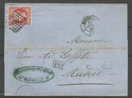 1859 –  N° 17B - 80 C. - Rose - SEUL SUR LETTRE De MARSEILLE à MADRID - Timbre Très Beau - 1853-1860 Napoleon III