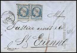 6875 LAC N 14 Lyon Rhone 1854 Entete Fauvel Napoleon 20c Laiteux X2 Paire Laiteux St Etienne Loire France Lettre - 1849-1876: Classic Period