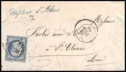 6926 LAC Alais Gard 1855 N 14 Napoleon 20c TB St Etienne Loire Fustier France Lettre (cover) - 1849-1876: Période Classique