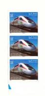 Maroc. Bloc De 3 Timbres 2019. TGV Marocain. Al Bouraq. Train à Grande Vitesse. - Treinen