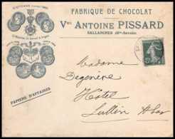7419 Enveloppe Illustree Medaille St Etienne 1895 Chocolat Pissard Sallanches Haute Savoie 1908 Semeuse France TB Etat - Storia Postale