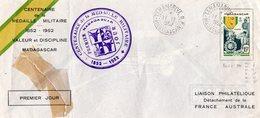 Madagascar 1952 Belle Fdc 100 Ans De La Médaille Militaire  Beau Cachet Lettre Réparée 01689 - Madagascar (1889-1960)