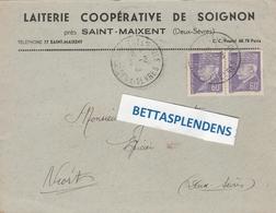 LSC - LAITERIE COOPERATIVE DE SOIGNON Près SAINT MAIXENT (Deux Sèvres) Timbres Pétain YT 509 (x2) - Marcophilie (Lettres)