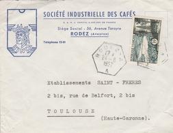 LSC 1957 - Cachet Hexagonal RODEZ A Sur Enveloppe SOCIETE INDUSTRIELLE DES CAFES à RODEZ (Aveyron) - Storia Postale