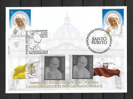 RARE 2003/2014 Joint/Congiunta Poland/Polonia And Vatican/Vaticano, SPECIAL MIXED FDC: Canonization Pope John Paul II - Gezamelijke Uitgaven