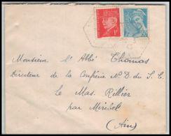 Lettre (cover) 5995 Petain N° 514 + Mercure N° 549 1943 Cachet Perlé Pour L'Abbé Thomas Miribel Ain - 1941-42 Pétain