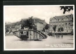 AK Ypres, Le Tank Place De La Gare - War 1914-18