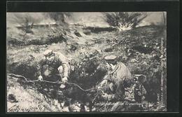 Künstler-AK Soldaten Beim Leitungsflicken Im Granatfeuer - Oorlog 1914-18