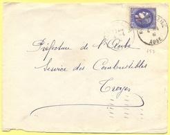 FRANCIA - France - 1941 - 2,25 Cérès Surchargé 1F - Viaggiata Da Nogent-sur-Seine Per Troyes - Storia Postale