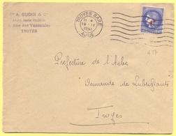 FRANCIA - France - 1941 - 2,25 Cérès Surchargé 1F - Ets A. Gudin & Cie - Viaggiata Da Troyes Per Troyes - Storia Postale