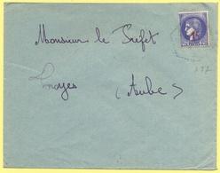 FRANCIA - France - 1941 - 2,25 Cérès Surchargé 1F + Cachet Hexagonal - Viaggiata Da ???? Per Troyes - Storia Postale