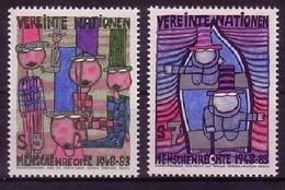 UNO WIEN MI-NR. 36-37 ** ERKLÄRUNG DER MENSCHENRECHTE HUNDERTWASSER 1983 - Unused Stamps