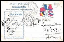 42551 Carte Postale En Franchise 7 Drapeaux à Droite Vive Les Alliés 1815 Ste Anne D'auray Guerre 1914/1918 War Postcard - Marcophilie (Lettres)