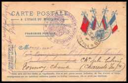 42552 Carte Postale En Franchise 4 Drapeaux à Droite Convoi Automobile TM 400 1915 CANON Charente Guerre 1914/1918 War - Marcophilie (Lettres)