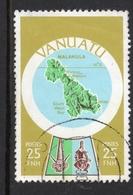 1980 VANUATU POSTES Valeur 25 FNH, Timbre Oblitéré YT No. 586 , MALAKULA ISLAND MAP, - Vanuatu (1980-...)
