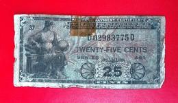 UNITED STATES 25 CENTS MILITARY PAYMENT CERTIFICATE - Certificati Di Pagamenti Militari (1946-1973)