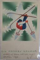 """Neujahr, Männer, Ski, Stern"" 1937  ♥  - Nouvel An"