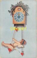 Illustrateur Sager, Noël, Angelot Cupidon Qui Se Balance Sous Une Horloge - Sager, Xavier