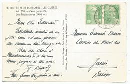 GANDON 5FR VERT PAIRE CARTE PETIT BORNAND 6.9.1950 HTE SAVOIE POUR GENEVE TARIF FRONTALIER - 1945-54 Marianne (Gandon)