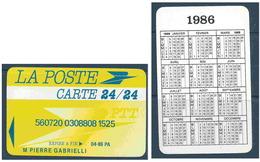 Calendrier De Poche De 1986 - Format Carte Bancaire De La La Poste - Calendriers