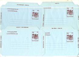 Belgique 1982 Aérogrammes Belgica (#18) - Les 4 Types - Stamped Stationery